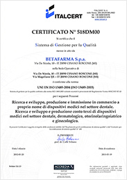 Сертификат ISO компании Бетафарма (Betafarma S.p.a.) MEDICAL DEVICE
